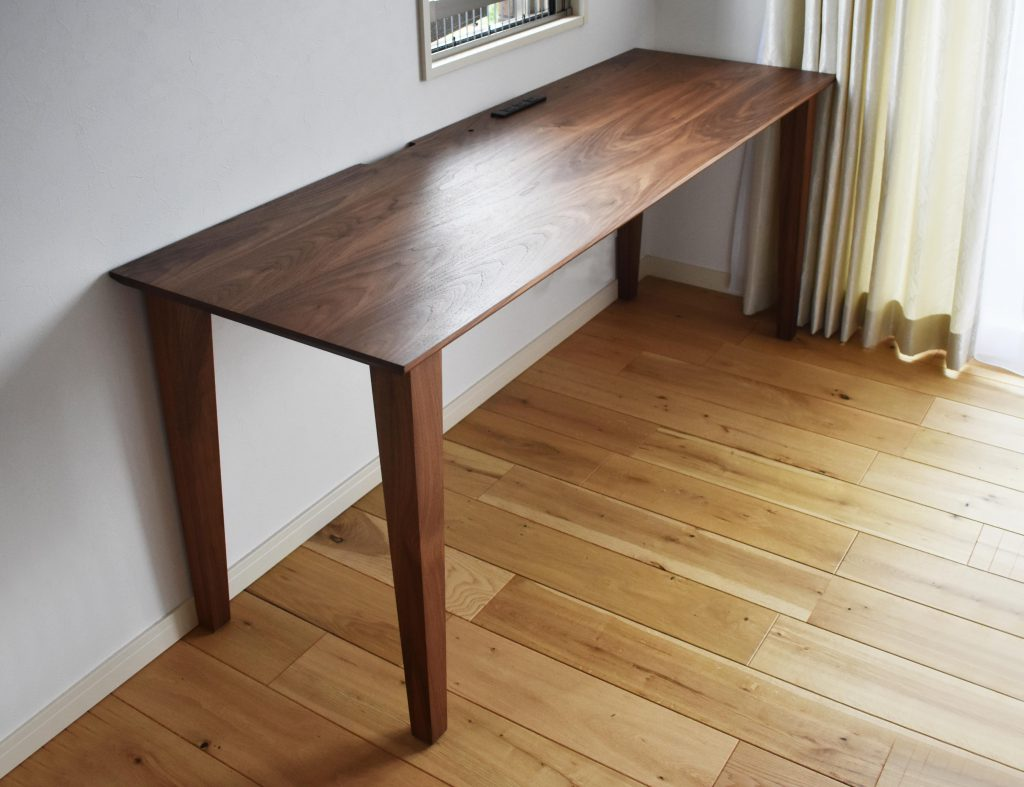 desk walnut iron pc