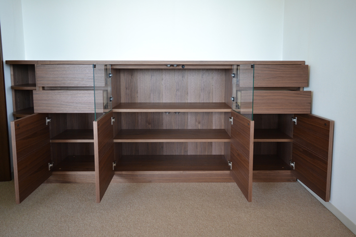 sideboard ordermade walnut open