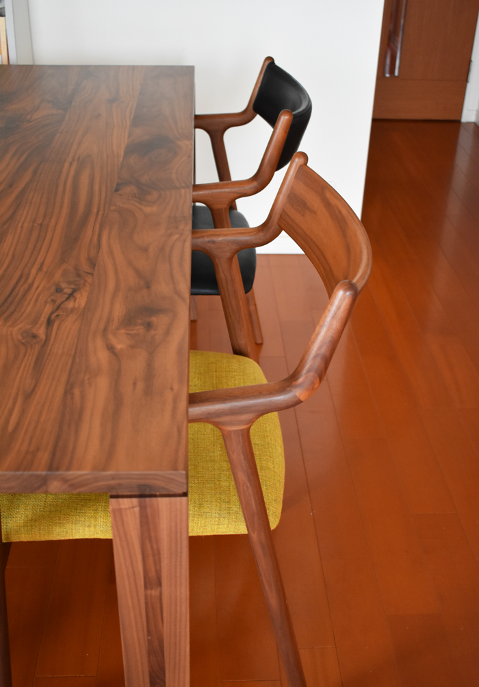 diningtable chair walnut leather