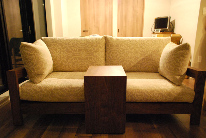 sofa walnut 3P feather
