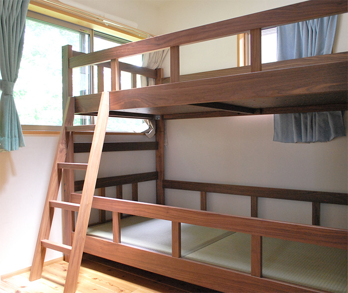 bed bunkbed remake walnut