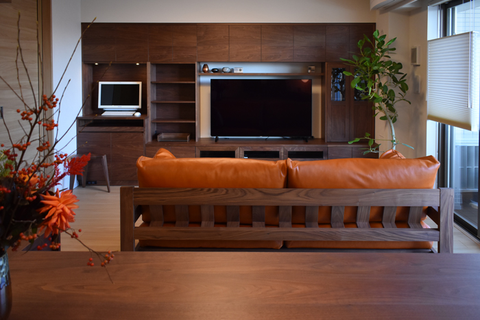 living totalcordinate walnut wallstorage tvboard sofa leather