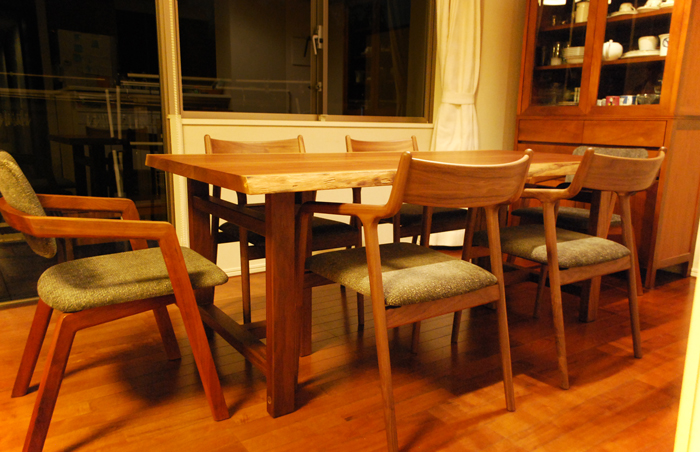 diningtable table walnut chair