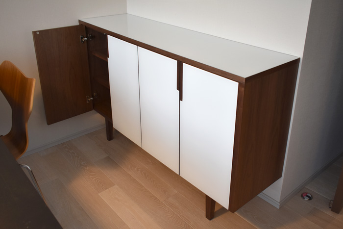 sideboard glass white walnut