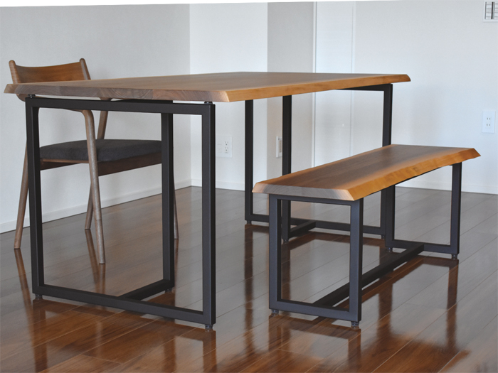 solidwood dining table traditionex pepechair bench walnut iron tleg black fablic