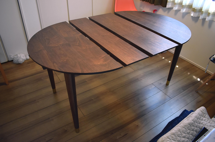 extension diningtable  walnut brass