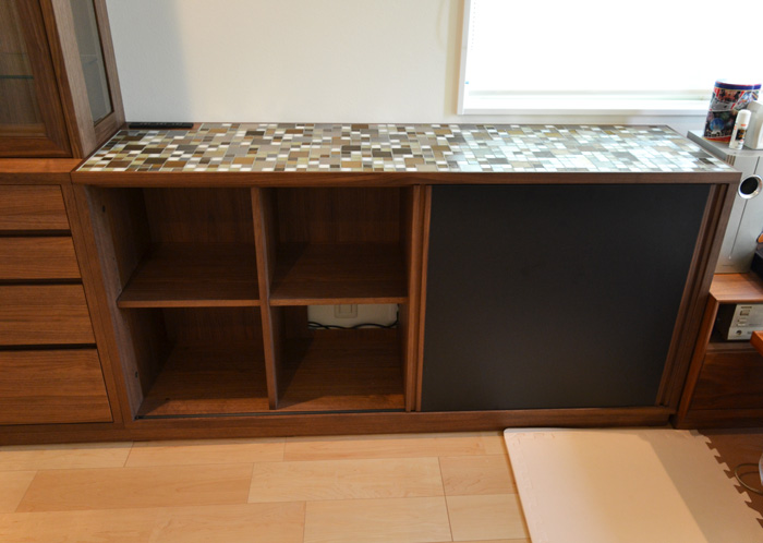 sideboard walnut glass light black tile