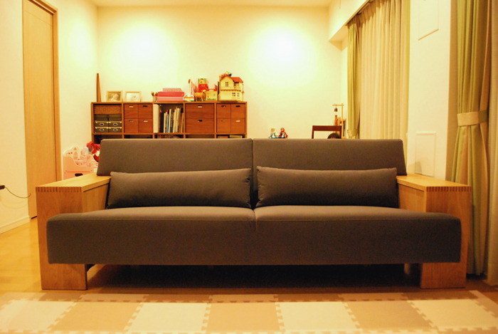 sofa base whiteoak fabric gray