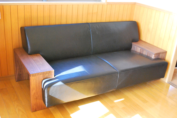 sofa square walnut lether black