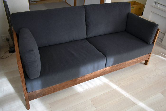 sofa lattice walnut gray