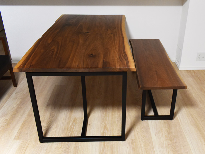 walnut diningtable bench