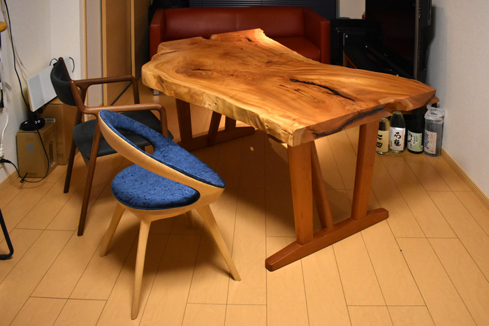 zelkova diningtable cherry walnut PePe-chair oak ANELLO-chair