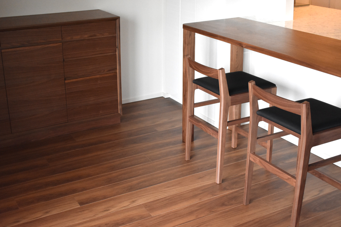 counter-table counter-chair Walnut leg-joint order-made sideboard living total-coordinate