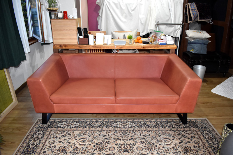 sofa corvo leather red