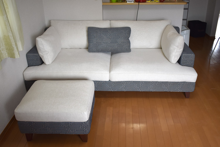 sofa ample 2.5P walnut order white blue living