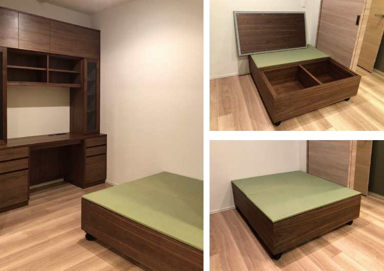 wagon walnut tatami order bed wallstrage desk
