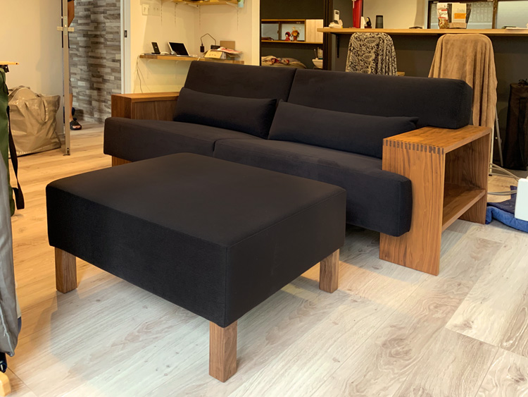 sofa base ottoman walnut black