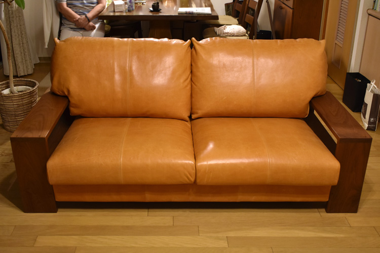 sofa FR walnut leather orange order