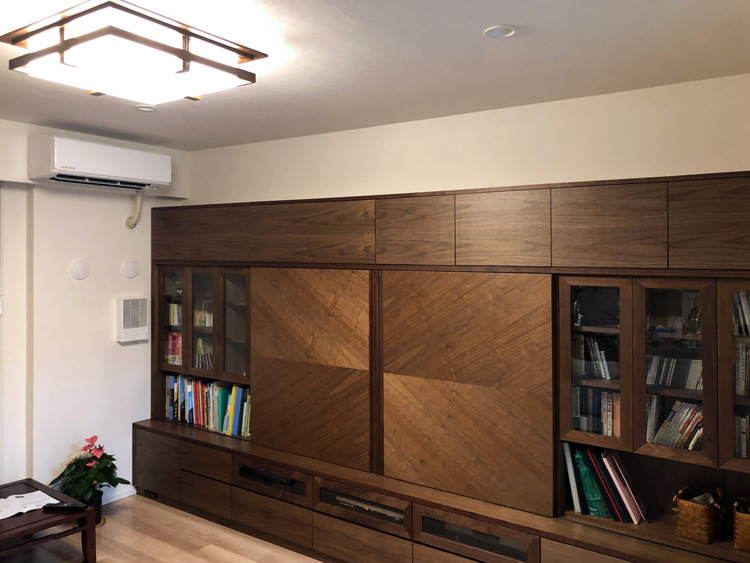 light robie celling wallstrage walnut livingroom