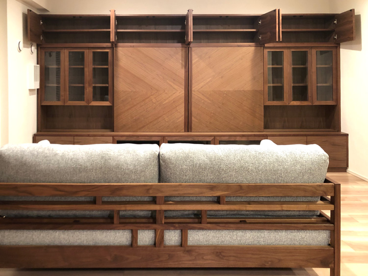 wallstrage living walnut ordermade sofa lattice