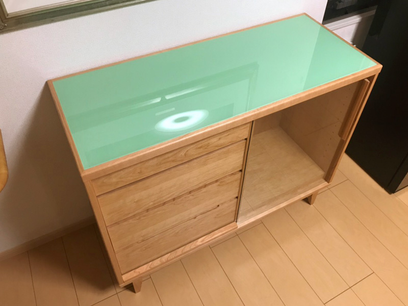 cherry sideboard chest glass green order oridinal