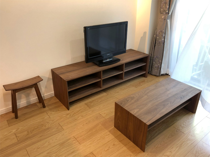 TV board HELLA Living table walnut ordermade oridinal stool orbis