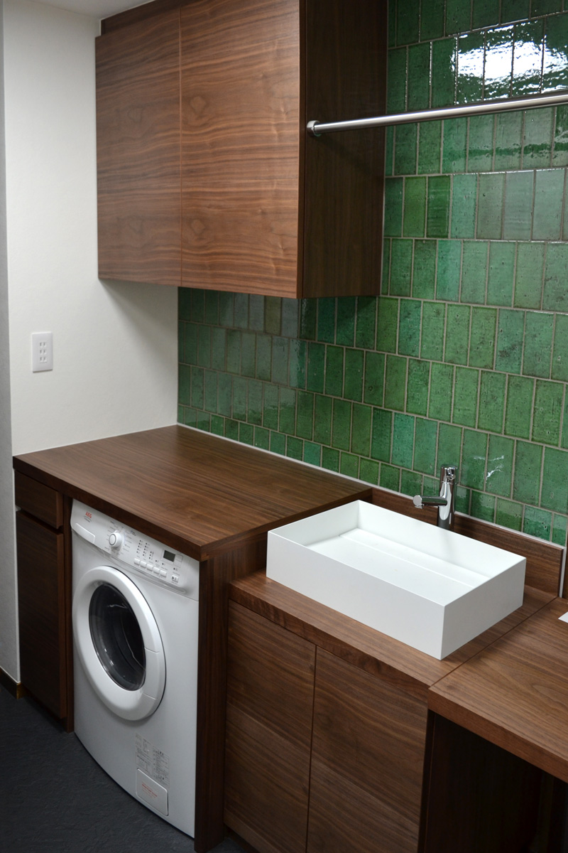 laundry walnut tile green ordermade reform